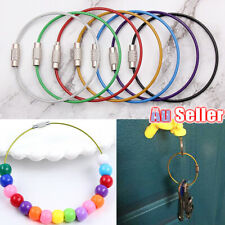 5pcs Stainless Steel Wire Rope Keychain Key Ring Cable For Outdoor Hiking Sports
