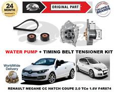FOR RENAULT MEGANE 2.0 16v TCe 2009-> WATER PUMP + TIMING BELT TENSIONER KIT