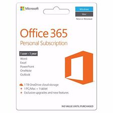 Microsoft Office 365 Personal 2016 Subscription for Pc / Mac + 1TB Cloud Storage