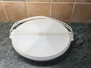VINTAGE Tupperware Lazy Susan Party Divider Platter Tray With Lid Dips Crafting