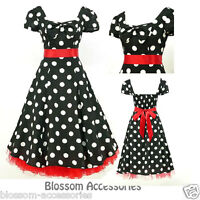 RK78 Rockabilly Black Polka Dot Dress Cap Sleeve 50s Retro Party Pin Up Plus