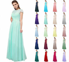 Formal Lace Long Evening Party Ball Gown Prom Chiffon Bridesmaid Dress Size 6~18