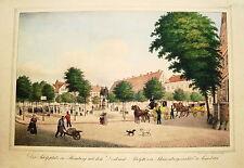 Hamburg Adolfsplatz mit Denkmal Adolf IV von Schauenburg Lithographie Suhr 1821