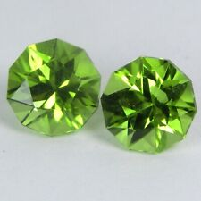2.90Cts 100% Natural Unique Green Peridot 7mm Round Custom Cut Matching Pair Gem