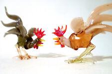 2x 30s Glas Figur Hahn Lampenglas Lauscha pair rooster glass figurine annees 30