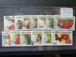 Antigua 1988/90 Caribbean Butterflies 13 values, used