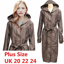 Women Light Weight Hooded Long Waxed Rain Mac Coat Waterproof Cape Jacket Plus UK 22