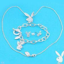 Playboy Jewelry Set Bunny Necklace Earrings Bracelet Swarovski Crystal Silver