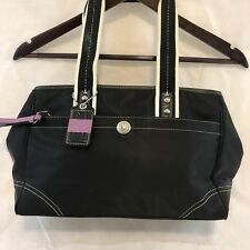 Coach Nylon Messenger Bag Women's Satchel Black Purple Sz Medium
