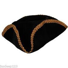 Dick Turpin Negro Sombrero De Pirata oro recortado Tricorn Fieltro Fancy Dress Accesorio Divertido
