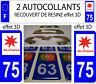 2 STICKERS RECOUVERT DE RESINE PLAQUE IMMATRICULATION DEPARTEMENT PARIS 75
