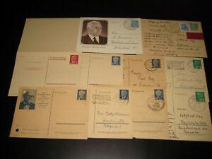 10x DDR-Ganzsachen,Wilhelm Pieck, ungebraucht und gebraucht, 1x A/F-Karte ungebr