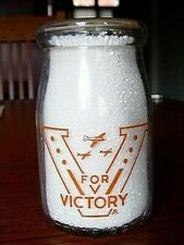 1943 WWII Chicago ILLINOIS dairy ILL. milk bottle cottage cheese jar WAR SLOGAN