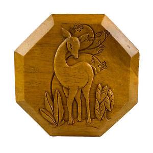 Vintage Costa Rica Deer Doe Fawn Carved Wood Separated Trinket Box