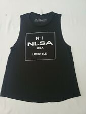 NLSA No Limits Sports Apparel Women's L Blk Sleeveless Shirt Weightlifting NWOT