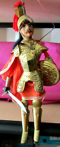 """Ca. Early-Mid 1900's Italian Brass Armored Knight Marionette Puppet 18 1/2"""" Fab"""