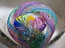 Rare Vintage Murano Art Glass LATTICINO Cane Paperweight FLOWER SCULPTURE Signed