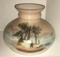 "STUNNING HURRICANE OIL LAMP SHADE MILK GLASS HANDPAINTED GLOBE 7"" Fitter"