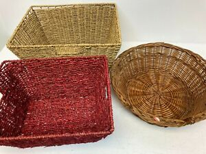 Wicker Home Storage Basket Hamper Bundle x3 Z2