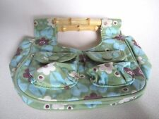 Baby Gap Purse Bamboo Handle Girls Tote Green Floral Print