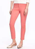 NWT OLD NAVY Womens Coral Tropics Pixie Hint Stretch Ankle Length Pants 26