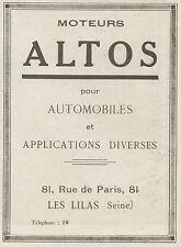 Y9991 Moteur pour Automobiles ALTOS - Pubblicità d'epoca - 1919 old advertising