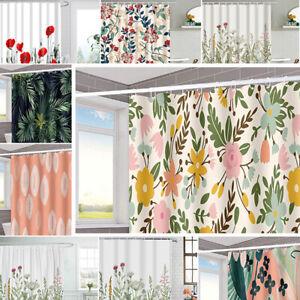 Floral Waterproof Shower Curtain Bathroom Bath Curtains Hooks Set Home Curtain