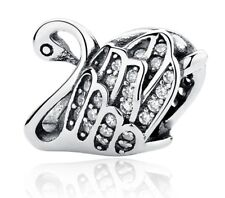 Charm Swan Charm Bead Crystal Bead Fits European bracelets Mother's Day CH75