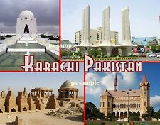Pakistan - KARACHI Collage - Travel Souvenir Flexible Fridge Magnet