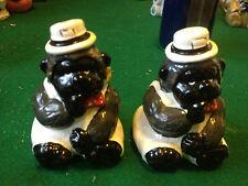 Rare Vintage Salt and Pepper Shakers porcelain ceramic gorillas