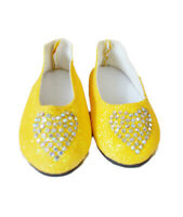 Yellow Heart Flats for Wellie Wisher Dolls 14.5 Inch Doll Shoes Glitter Girls