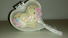 Small Decorative Glass Heart Shaped Jewelry Trinket Box