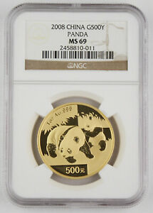 2008 China 500 Yuan 1 Oz 999 Gold Chinese Panda Coin NGC MS69 GEM BU+