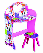 Girls Dressing Table & Stool Play Set Toy Makeup Vanity Mirror Kids Furniture