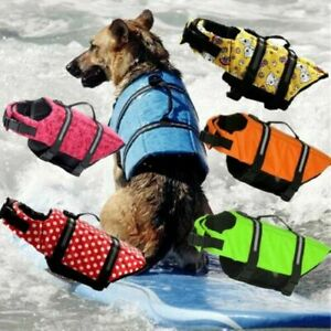 Dog Puppy Safety Vest Swimming Adjustable Buoyancy Aid Costume Beach Life Jacket