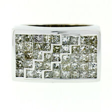 Men's Bold 14K White Gold 4.50ctw Invisible Princess Cut Diamond Wide Band Ring