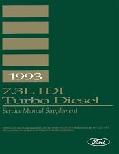 Oem Shop Manual Ford Truck 7.3L Idi Turbo Diesel Supp To 1993 1993
