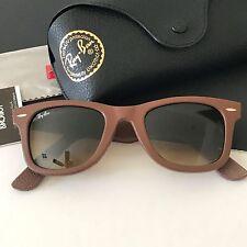 Ray-Ban RB2140-Q-M 1169/85 Brown Leather Wayfarer Sunglasses Italy 50-22 $255
