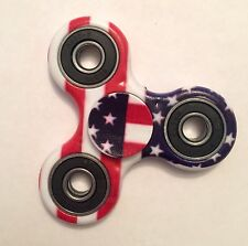 USA Flag Tri-Fidget Spinner Red White and Blue Patriotic Steel Bearing