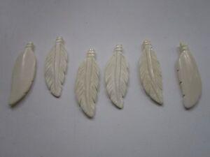 Feather Pendants Buffalo Bone 2 3/4 Pendants Charms Beads  Jewelry Crafts 908