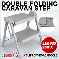 Double Folding Caravan Step Portable Compact Rv 440LBS/200KG Camper Trailer