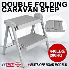 Double Folding Caravan Step Portable Compact Rv 440LBS/200KG Camper Trailer