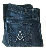 7 For All Mankind Womens Bling A Pocket Flare Cut Blue Denim Jeans Sz 27 (27X29)