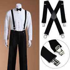 "2"" 50mm Wide Mens X-Back X Shape Heavy Duty Trousers Black Color Brace Suspender"