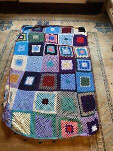 Vintage Hand Crochet Granny Blanket Large