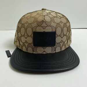 Coach Signature Flat Brim Hat Leather NEW WITH TAGS