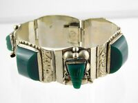 Vintage Taxco Mexico Sterling Silver Carved Face Green Onyx Panel Bracelet 925