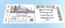 Boston Red Sox vs Miami Markins 2012 Ticket w/Stub Tuesday 6/19/2012