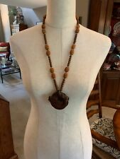 """Antique Necklace Chinese Carved Fish Figurine And Seeds, Wood Beads 16"""""""
