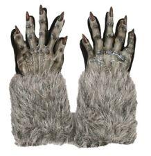 Grey Werewolf Gloves Wolf Halloween Adult Costume Accessory Evil Faux Fur Latex
